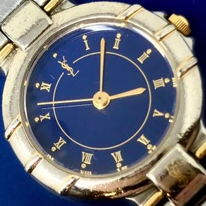 YSL Silver & Gold Blue Face Watch